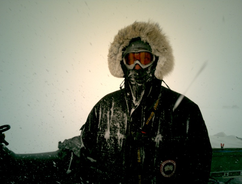 Andreas in blizzard.